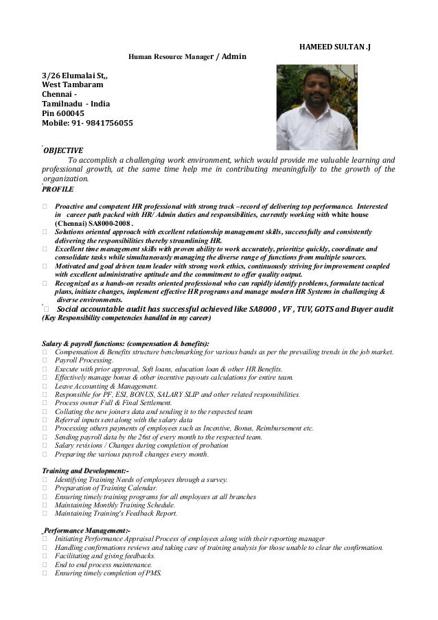 hr executive resume sle in india resume hameed hr