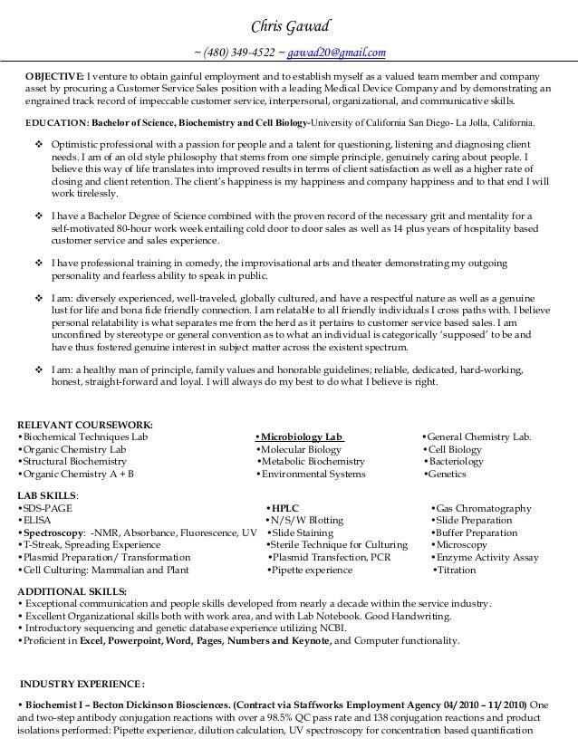 Medical Device Resume