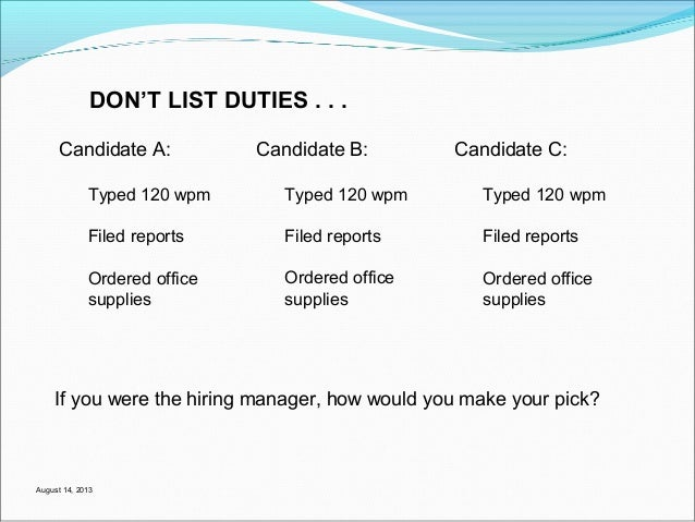 dont list duties on your resume