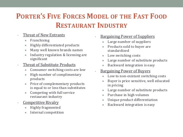 political forces of fast food industry Porter's five forces analysis of the fast food industry complete a porter's five forces analysis of the fast food industry and for each of the 4 generic strategies, identify one restaurant that you believe is employing that generic strategy.