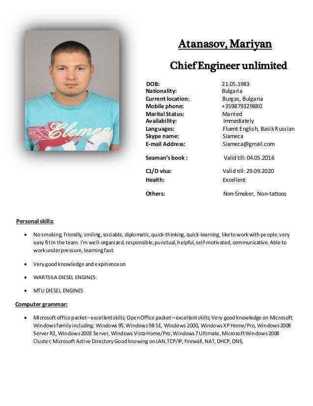 Chief Engineer Cv Forteforic