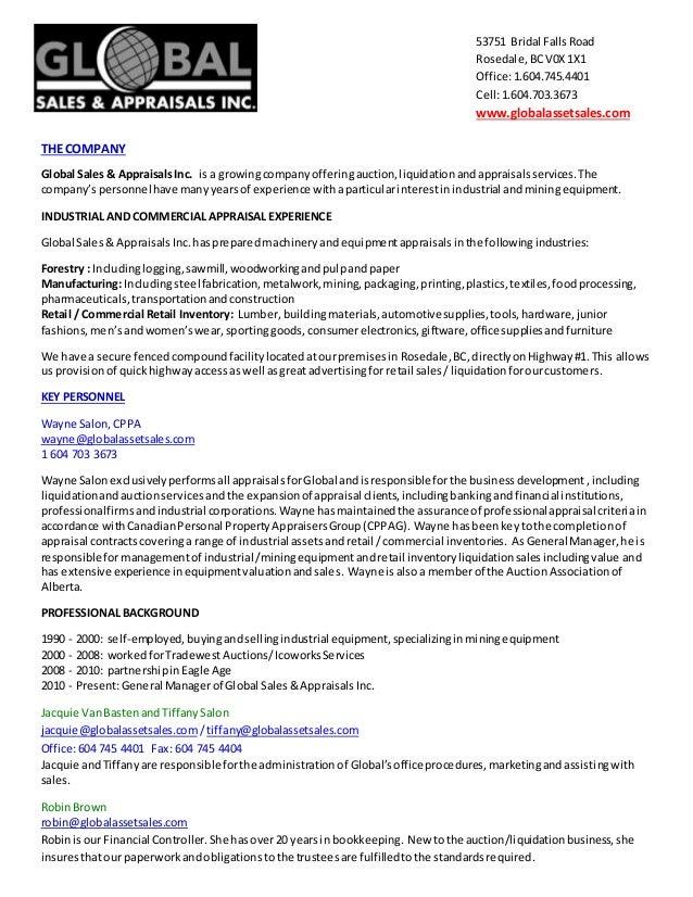 global asset sales ltd  resume