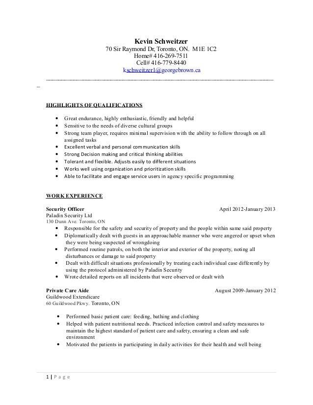 kevin schweitzer resume