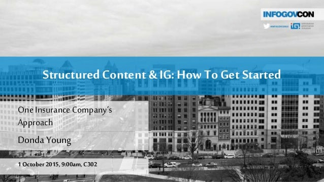 StructuredContent & IG: How To Get Started Donda Young 1 October 2015,9:00am,C302 OneInsuranceCompany's Approach