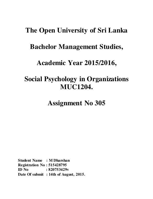 The Open University Of Sri Lanka Bachelor Management Studies Academic Year 2015 2016