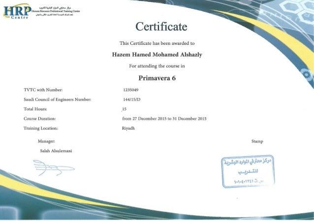 Primavera Certificate-English