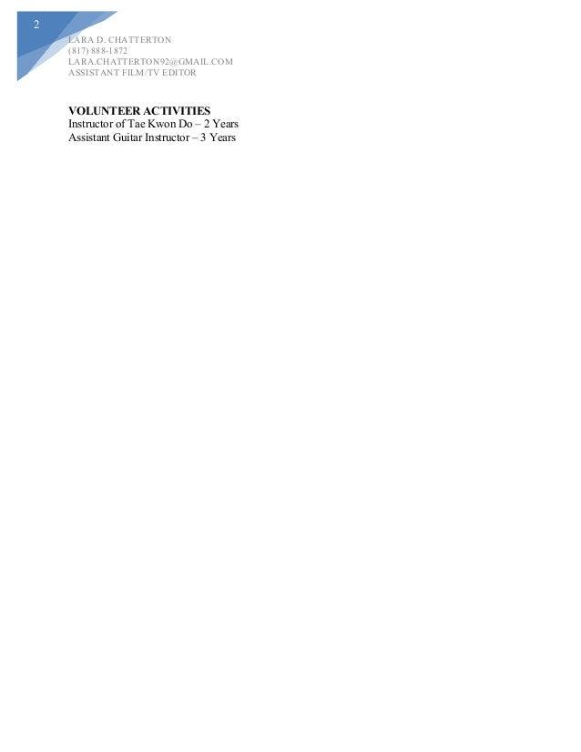 lara chatterton assistant editor resume - Assistant Editor Resume