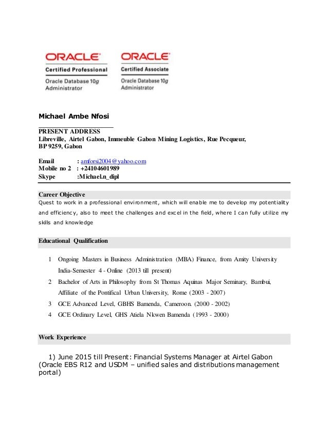 resume oracle ebs r12 and speaking
