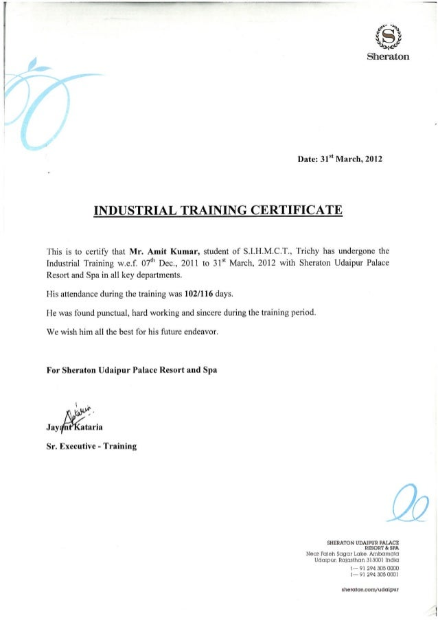industrial training certificate