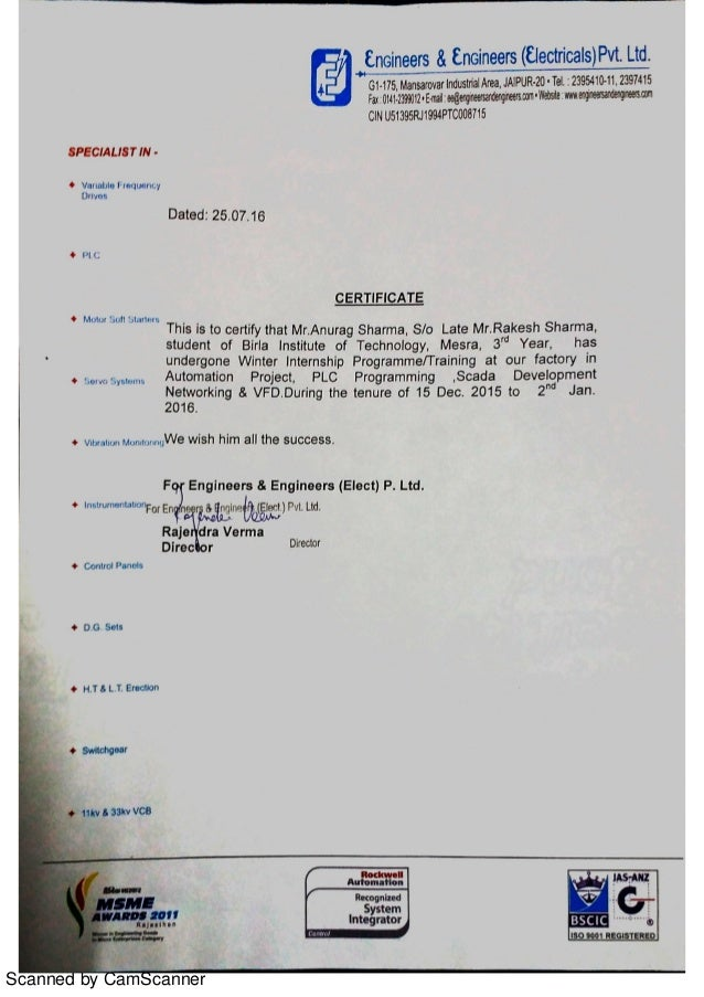 Certificate for training at Engineers Engineers Elect Pvt Ltd – Certificate for Training