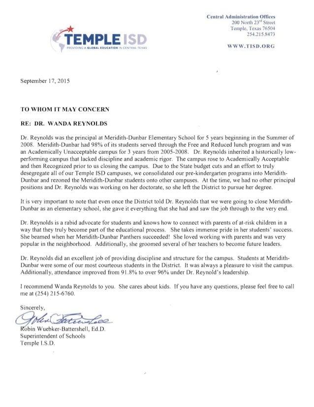 letter of recommendation wanda reynolds 9 17 15