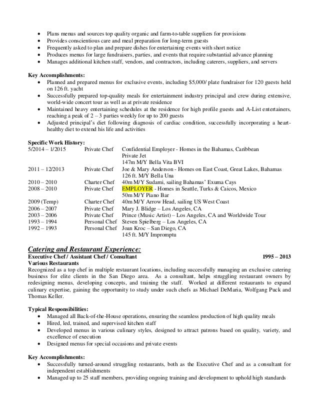 Aaron Kirsch Private Chef Resume