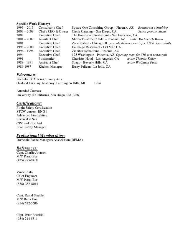 aaron kirsch private chef resume - Personal Chef Resume