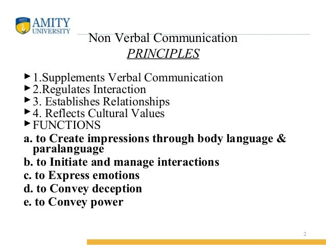 principles of verbal messages The 7 c's of effective communication, also known as the seven principles of  a  useful check list as a result of which both written and verbal communication pass .