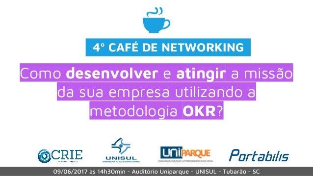 Como desenvolver e atingir a missão da sua empresa utilizando a metodologia OKR? 4º CAFÉ DE NETWORKING