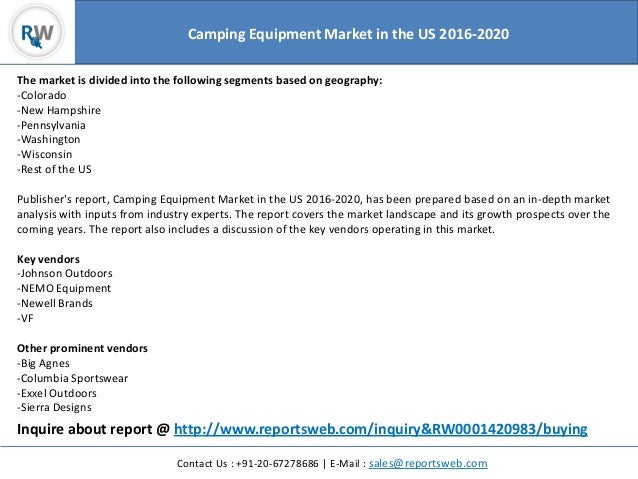 Camping Equipment Market 2020 in the US