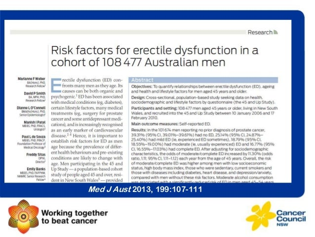 Age-related patterns of erectile dysfunction among older men Marianne Weber, David Smith, Dianne O'Connell, Manish Patel, ...