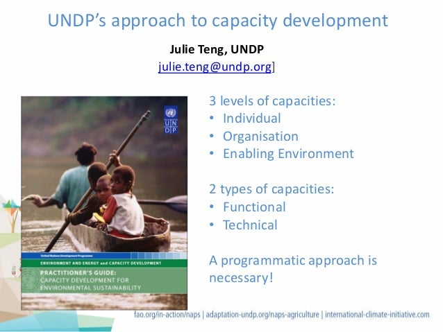 UNDP's approach to capacity development 3 levels of capacities: • Individual • Organisation • Enabling Environment 2 types...