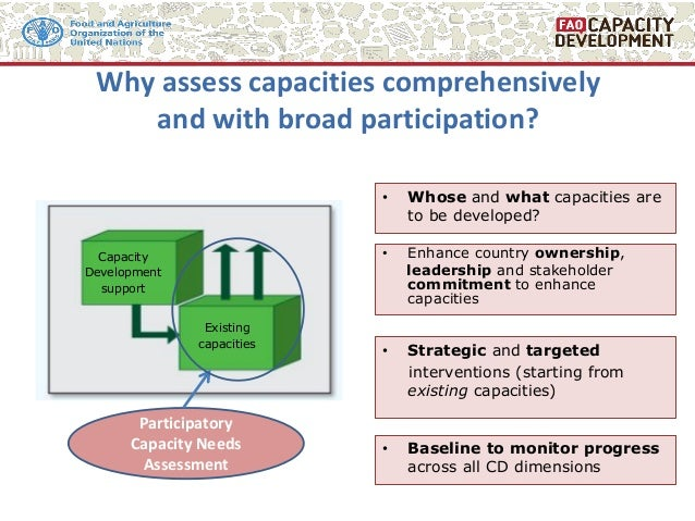 Capacity Development support Existing capacities • Whose and what capacities are to be developed? Participatory Capacity N...
