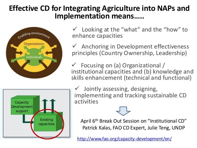 """Effective CD for Integrating Agriculture into NAPs and Implementation means…..  Looking at the """"what"""" and the """"how"""" to en..."""