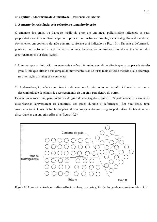 10.1 4° Capítulo - Mecanismo de Aumento de Resistência em Metais 1. Aumento de resistência pela redução no tamanho do grão...