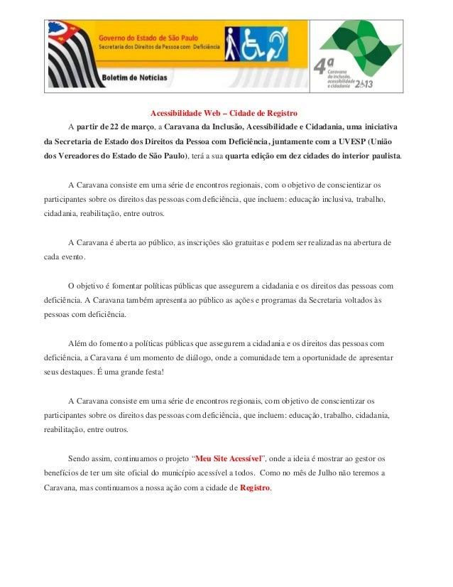 Acessibilidade Web – Cidade de Registro A partir de 22 de março, a Caravana da Inclusão, Acessibilidade e Cidadania, uma i...