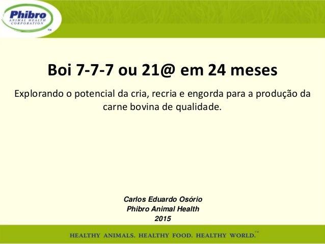 Boi 7-7-7 ou 21@ em 24 meses Explorando o potencial da cria, recria e engorda para a produção da carne bovina de qualidade...