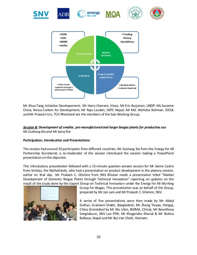 Report of the International Workshop on Domestic Biogas, 20