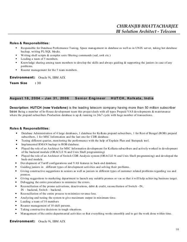 roles and responsibilities resume