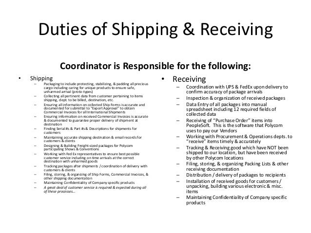 Shipping And Receiving Duties. Best 20 Resume Career Objective
