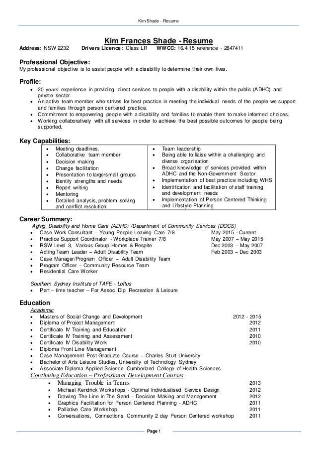 resume kim shade november 2015 linked in