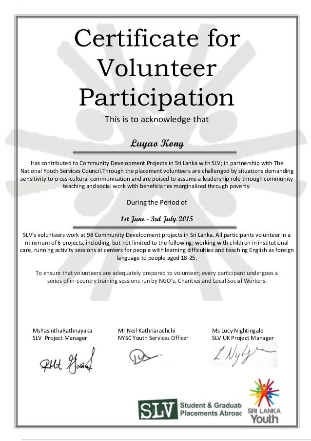 Volunteer Participation Certificate Luyao Kong