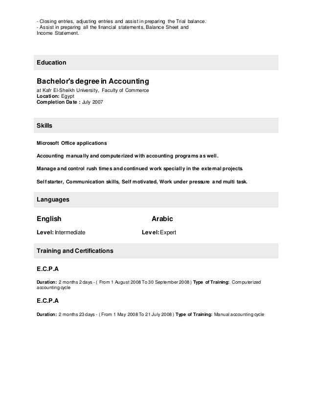 Amazing Resume With A Bachelors In Accounting Gallery ...