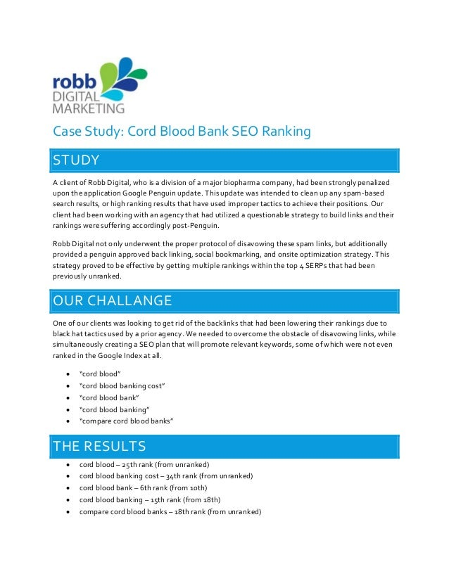 Cord Blood Banking Cost >> Case Study Cord Blood Bank Case