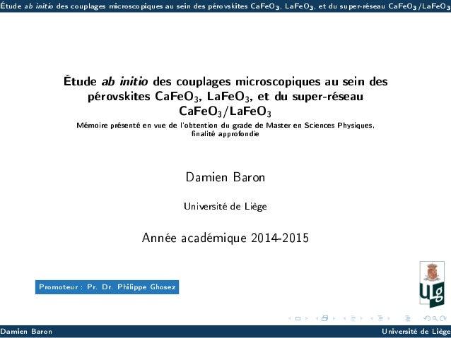 Étude ab initio des couplages microscopiques au sein des pérovskites CaFeO3, LaFeO3, et du super-réseau CaFeO3/LaFeO3 Étud...