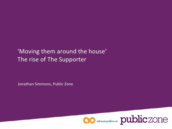 Jonathan Simmons, Public Zone ' Moving them around the house' The rise of The Supporter