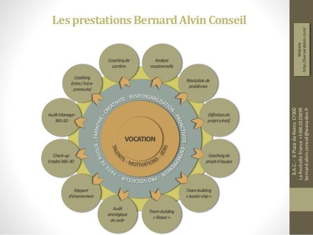 LesprestationsBernardAlvinConseil Coachingde carrière Analyse vocationnelle Coaching Entre/Intra- preneurial Team-building...