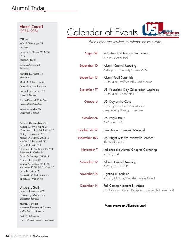 Usi Calendar.August 2013 Usi Magazine