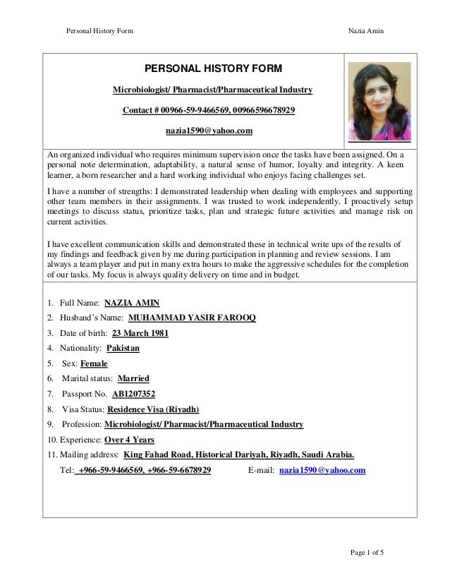 Personal History Form Nazia Amin Page 1 Of 5 PERSONAL HISTORY FORM  Microbiologist/ Pharmacist/ ...  Resume For Pharmacist