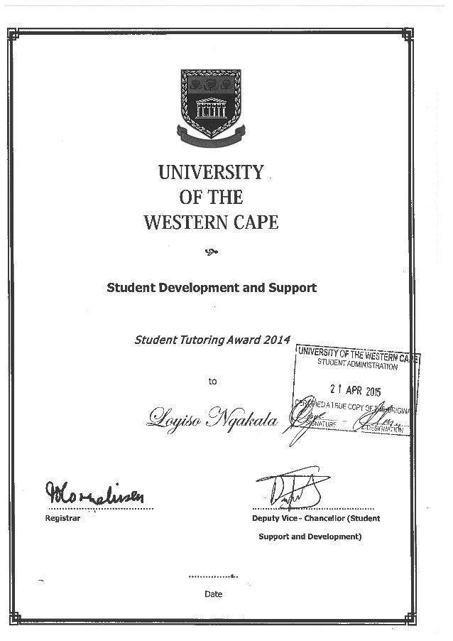 Tutoring Certificate