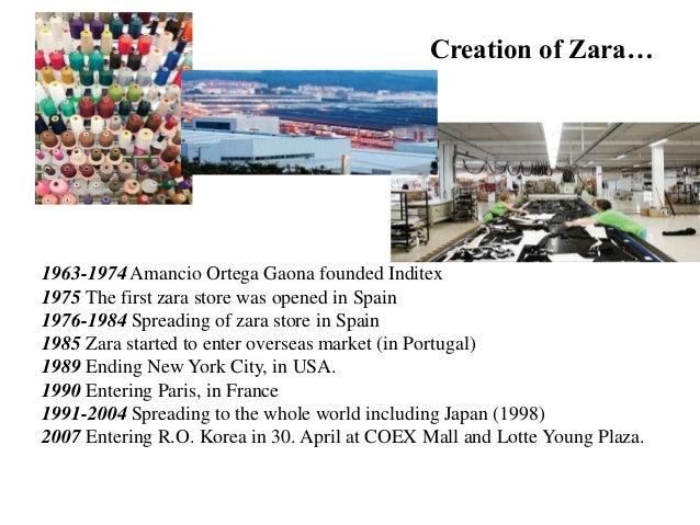 Creation of Zara… Zara… 1963-1974 Amancio Ortega Gaona founded Inditex 1975 The first zara store was opened in Spain 1976-...