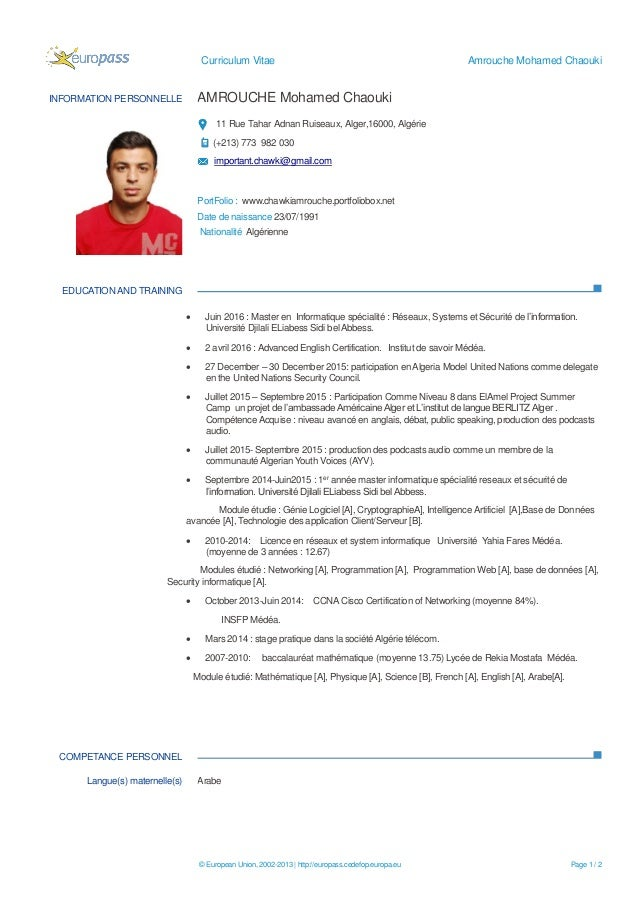 chawki amrouche french cv