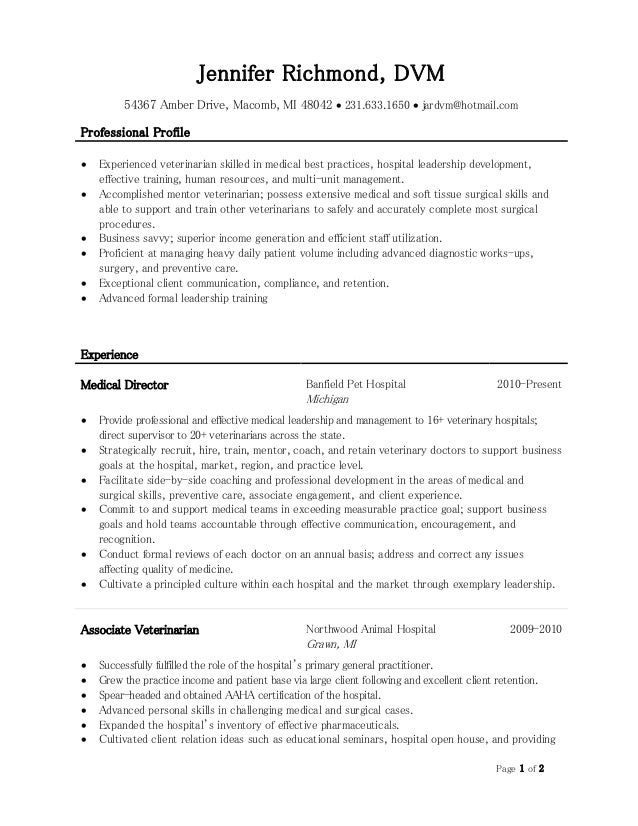 Page 1 Of 2 Jennifer Richmond, DVM 54367 Amber Drive, Macomb, ...  Veterinary Resume