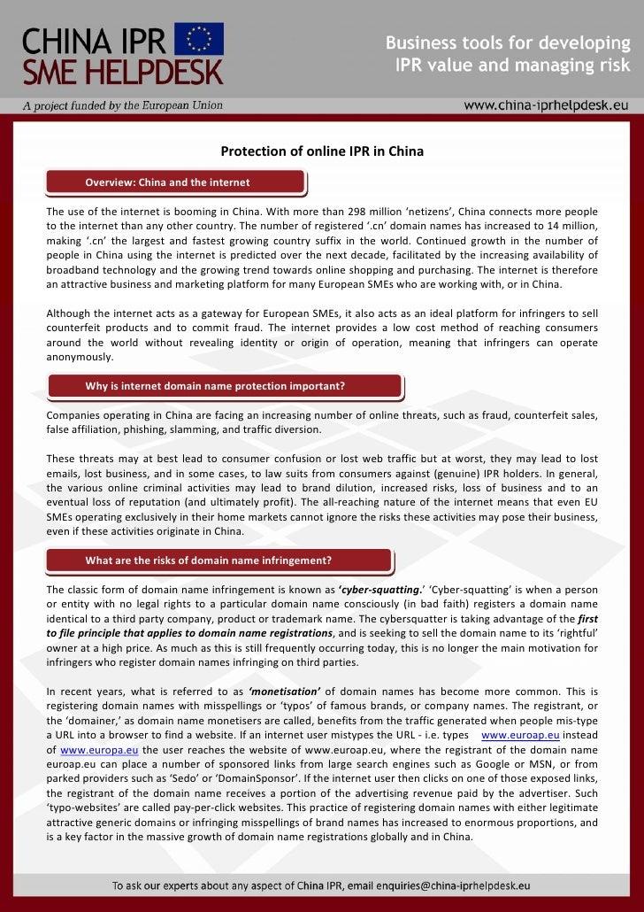 V                                             ProtectionofonlineIPRinChina           Overview:Chinaandtheinterne...
