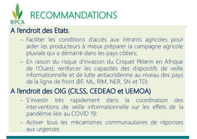 RECOMMANDATIONS A l'endroit des Etats, – Faciliter les conditions d'accès aux intrants agricoles pour aider les producteur...
