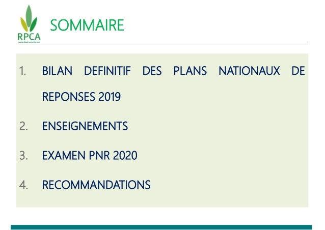 SOMMAIRE 1. BILAN DEFINITIF DES PLANS NATIONAUX DE REPONSES 2019 2. ENSEIGNEMENTS 3. EXAMEN PNR 2020 4. RECOMMANDATIONS