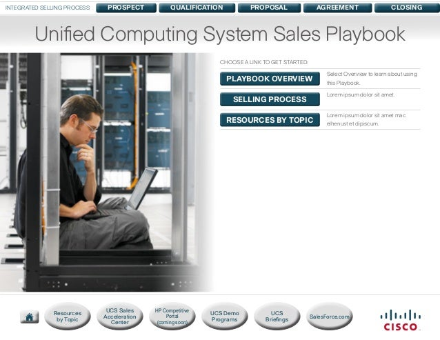 INTEGRATED SELLING PROCESS  PROSPECT  QUALIFICATION  PROPOSAL  AGREEMENT  CLOSING  Unified Computing System Sales Playbook...