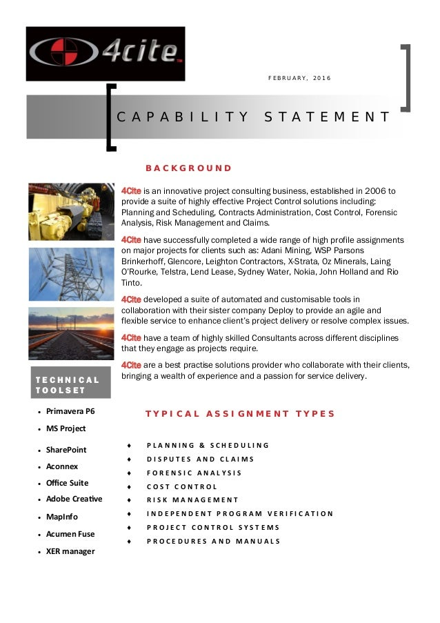 4cite capability statement pdf. Black Bedroom Furniture Sets. Home Design Ideas