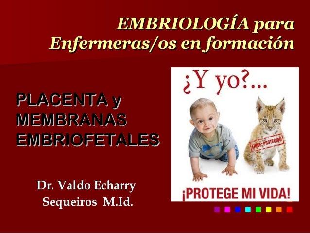 EMBRIOLOGÍA para   Enfermeras/os en formaciónPLACENTA yMEMBRANASEMBRIOFETALES        En cada hospital hay… Dr. Valdo Echar...