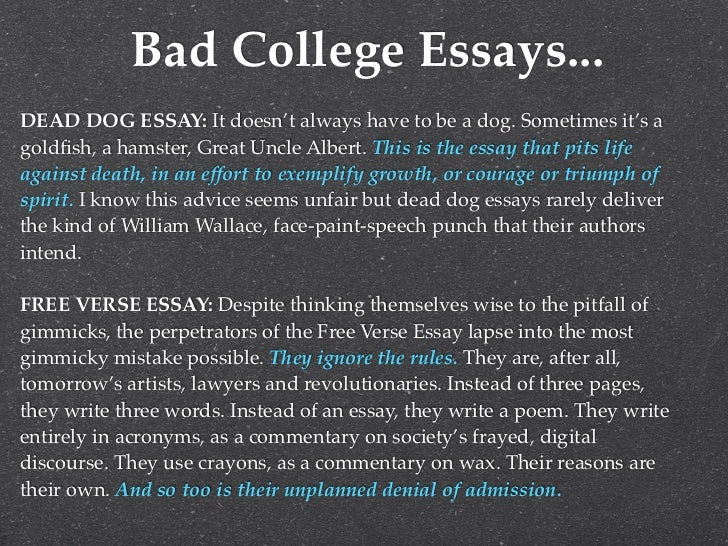 college essay 10 bad college essays